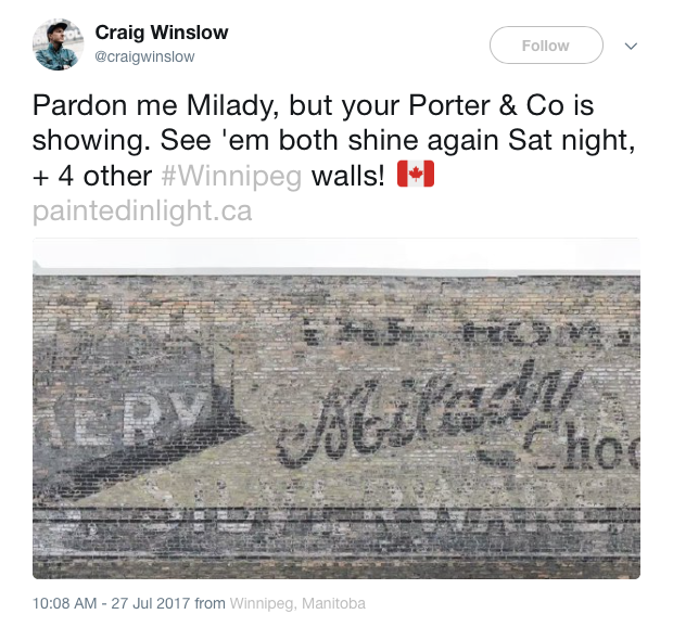 Porter & Co. and Milady signs in Winnipeg