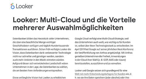 Looker: Multi-Cloud und die Vorteile mehrerer Auswahlmöglichkeiten