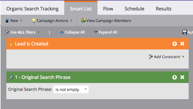 organic search tracking in marketo lead is created trigger
