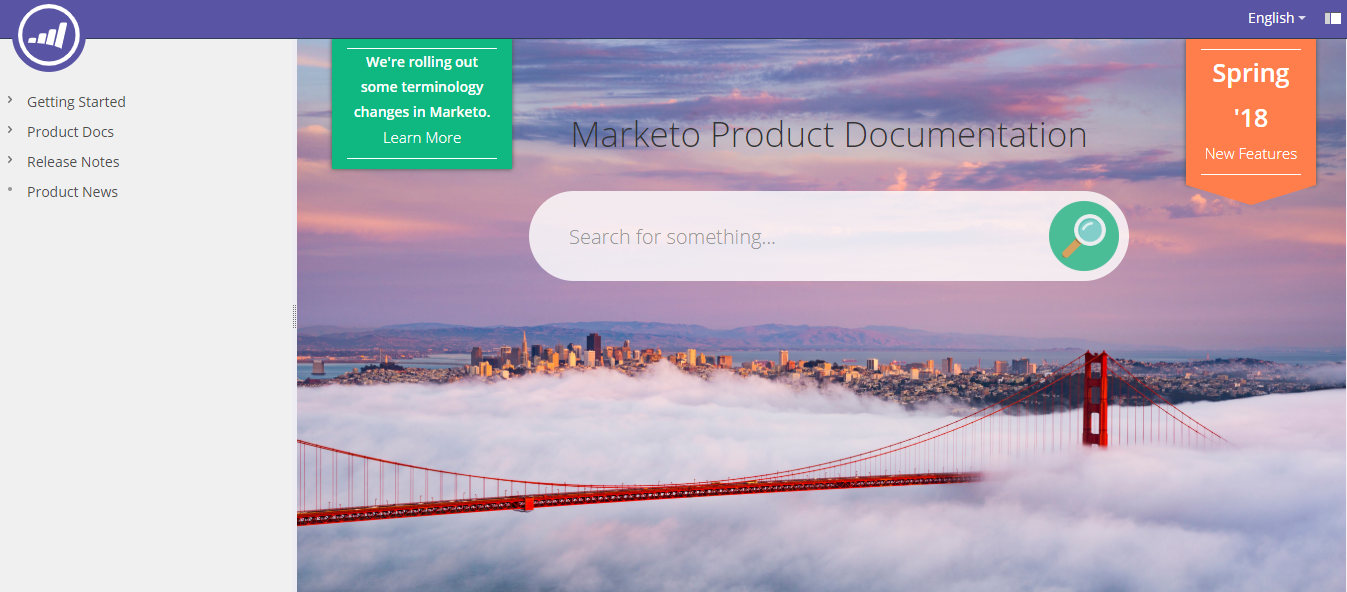 Marketo Documentation Welcome Screen