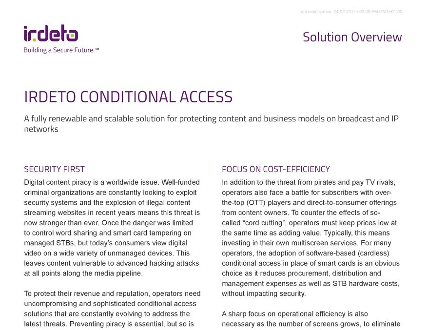 Solution overview: Irdeto Conditional Access
