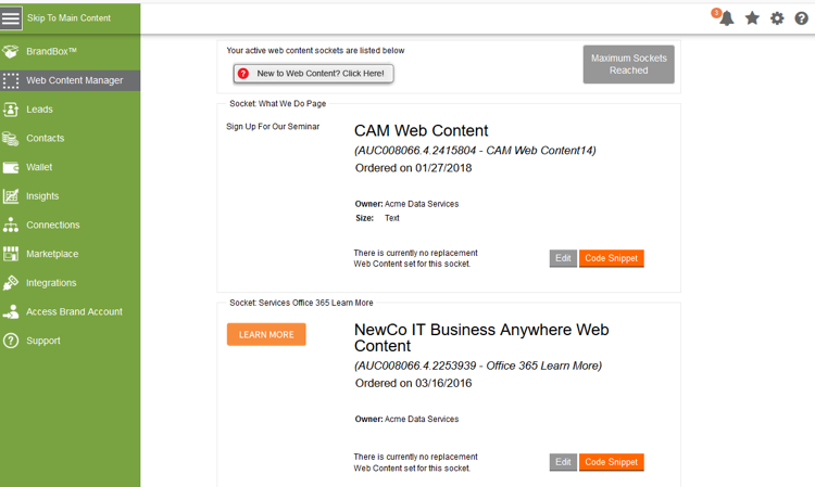 Partner Web Socket Management in Aprimo Distributed Marketing