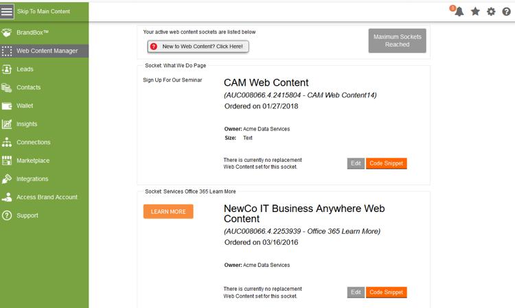 Partner Web Socket Management in Aprimo Distributed Marketing