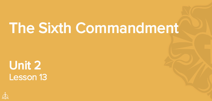 Lesson 13 - The Sixth Commandment | CPH 60-Week Confirmation Curriculum
