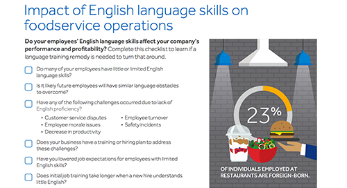 Checklist: Impact of Language Skills on Foodservice Operations
