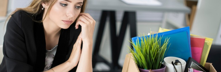 employee thinking about quitting her job