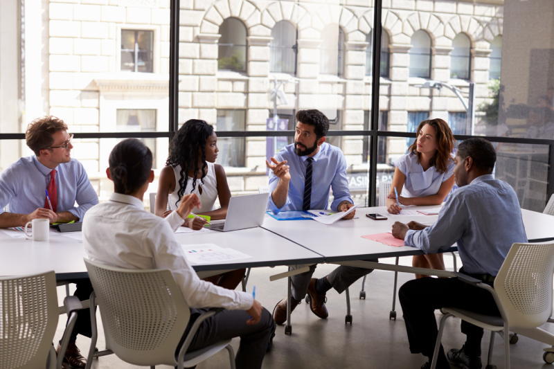 Business meeting about job descriptions