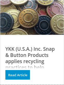 YKK (U.S.A.) Inc. Snap & Button Products applies recycling practices to help preserve the environment