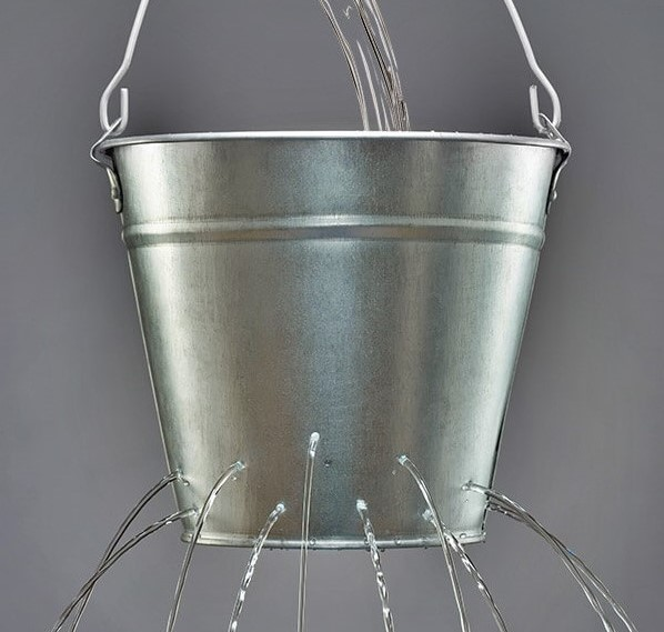 Water pouring into a leaky bucket