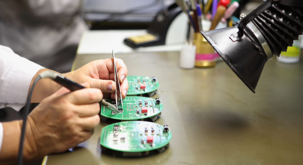 PCB assembly professional reviewing pcb design