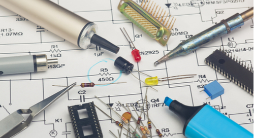 Electronic components over a design schematic