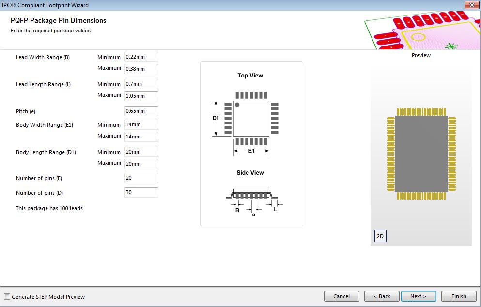 Picture of the IPC compliant footprint wizard within Altium Designer