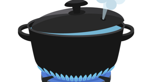 Cartoon of pan boiling pot popping its lid