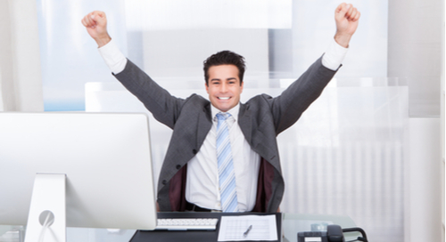 Picture of excited businessman