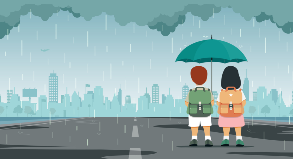 Cartoon of two people under an umbrella in a rain storm