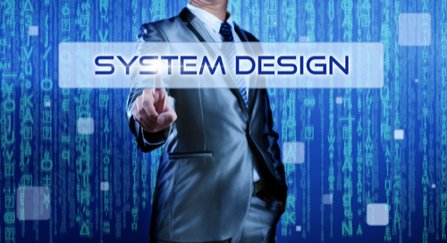 Business man against digital background with finger on system design sign