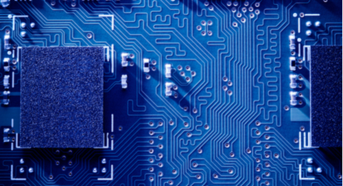 Close-up of a blue circuit board