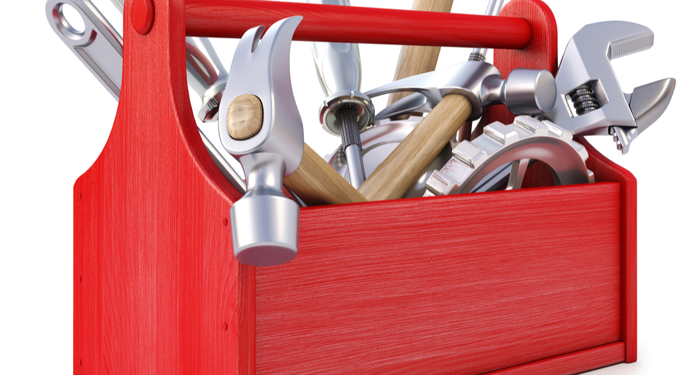 Red toolbox with tools