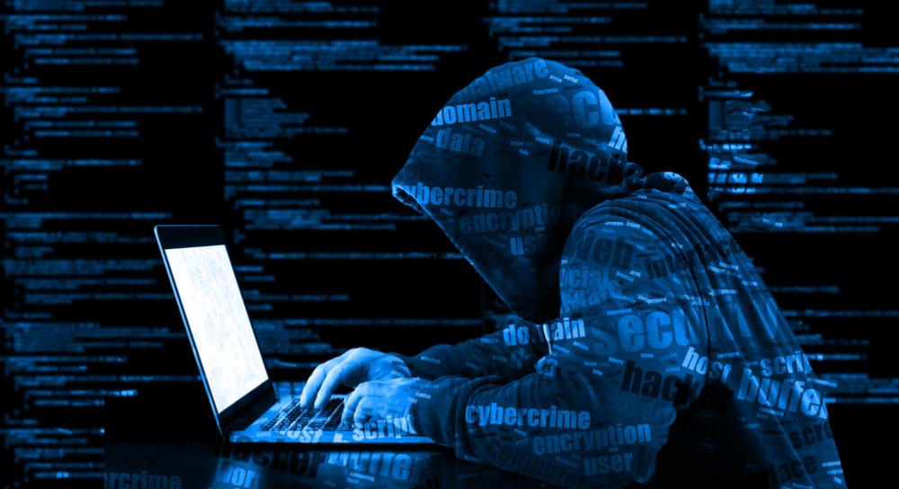 Evil hacker at work