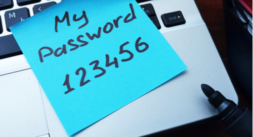 123456 password written on a sticky note