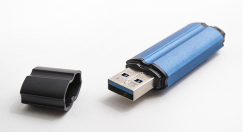 blue metal USB memory stick with cap