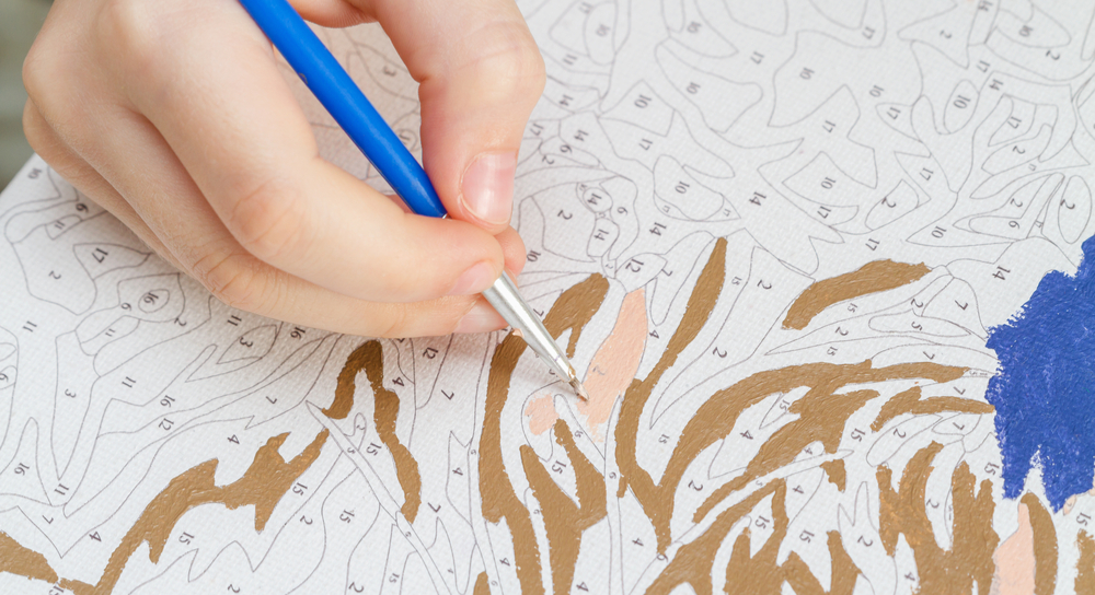 Completing a paint by numbers