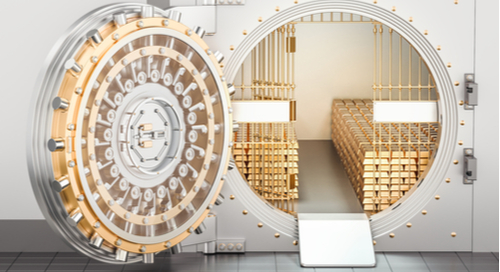 pen bank vault with gold ingots inside