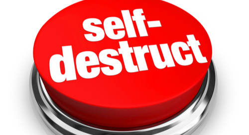 A red button with the words self-destruct on it
