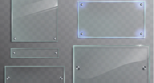 Arrangement of different sizes and shapes of glass boards