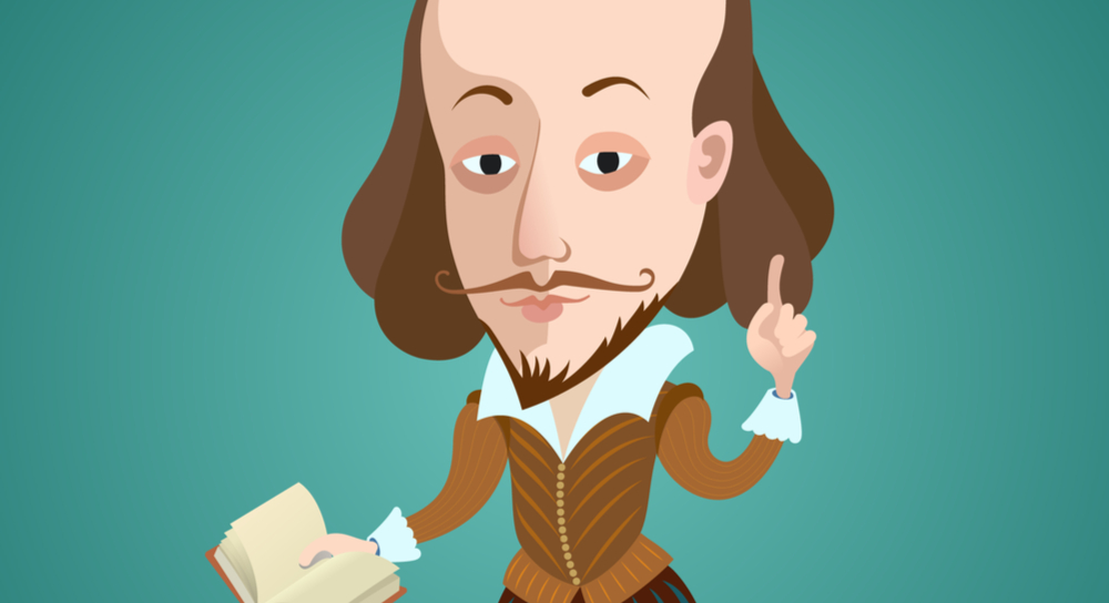 Cartoon depiction of William Shakespeare holding a book and pointing a finger