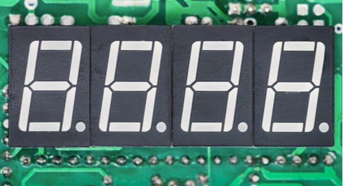 A counter over a circuit board.