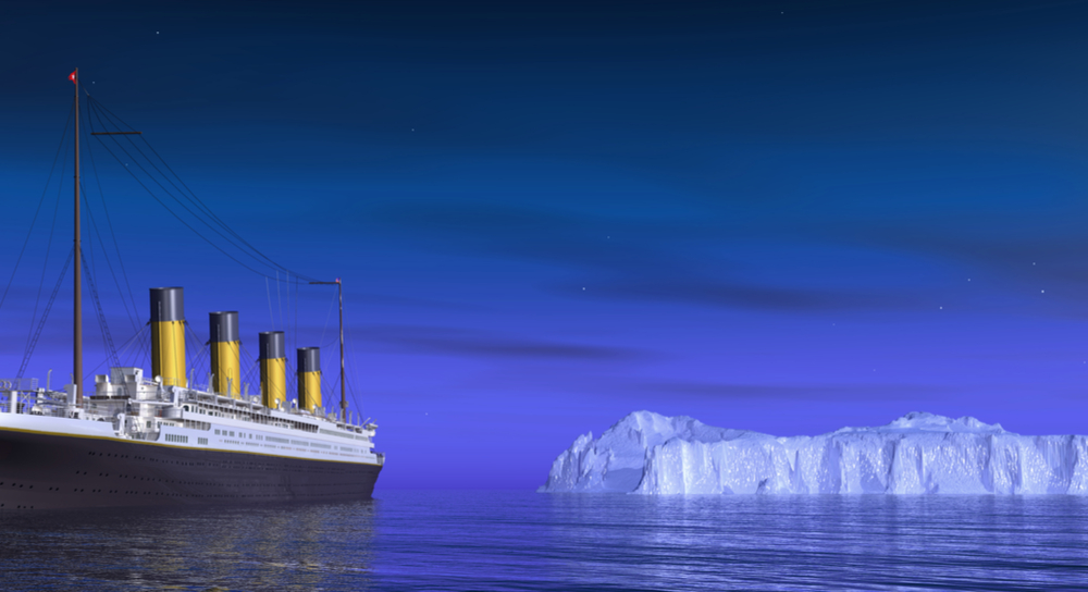 Picture of Titanic approaching the iceberg