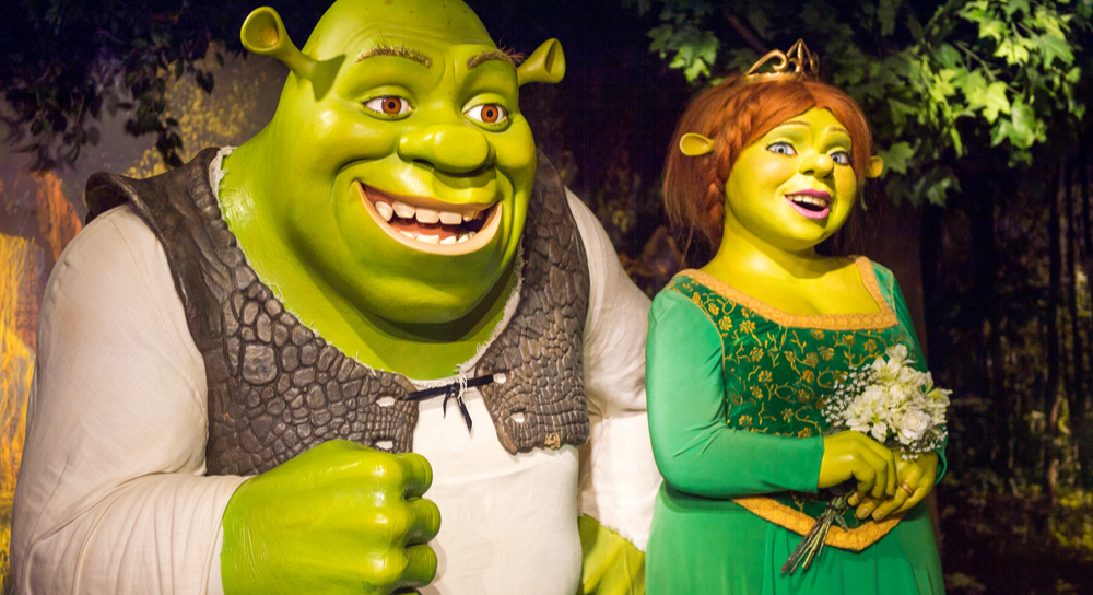 Shrek and Fiona (from the movie Shrek) wax figures.
