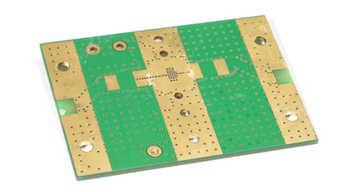Bottom side of an empty PCB.