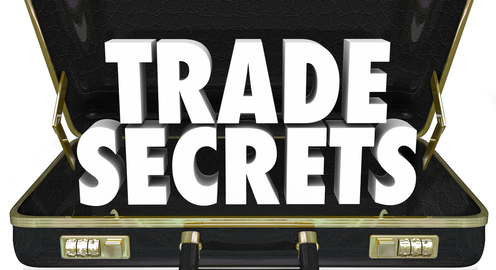 "Open Briefcase with ""Trade Secrets"" written inside it"