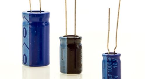 Three capacitors of different sizes