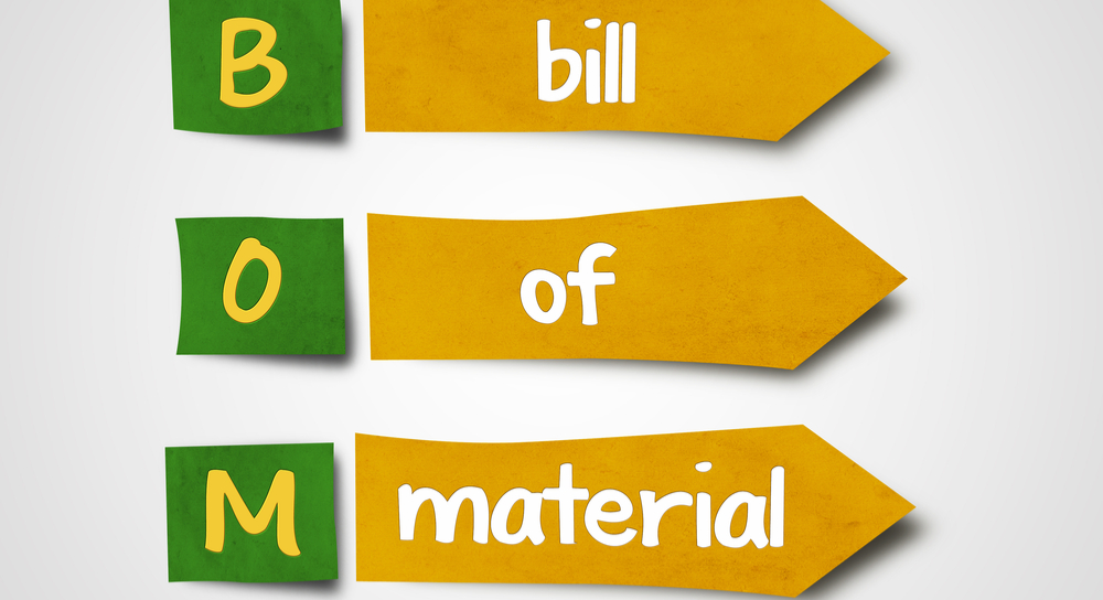 Letter spelling out Bill of Materials with  highlighted