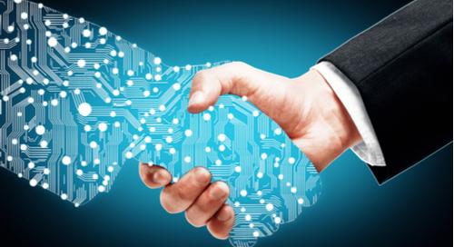 Businessman shaking hands with a digital partner