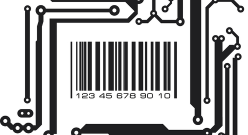Picture of a bar code against a PCB background