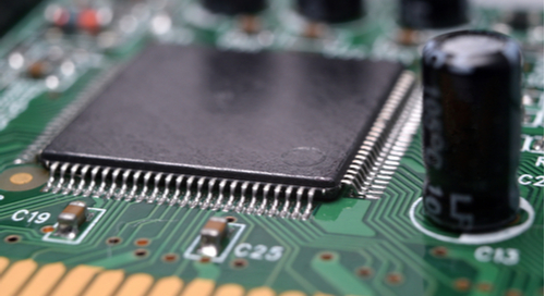 Closeup of components on a PCB