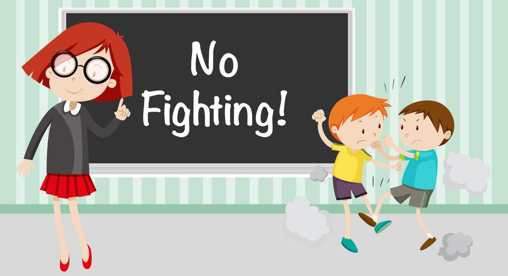 School kids fighting with teacher saying no fighting
