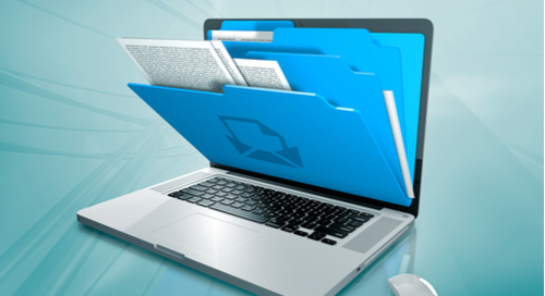 Picture of a laptop with paper file folders coming out of it