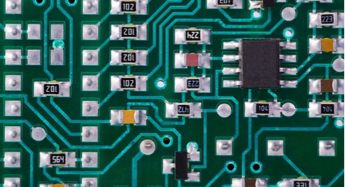 Closeup of a PCB