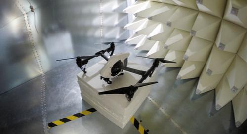 Drone undergoing EMC testing