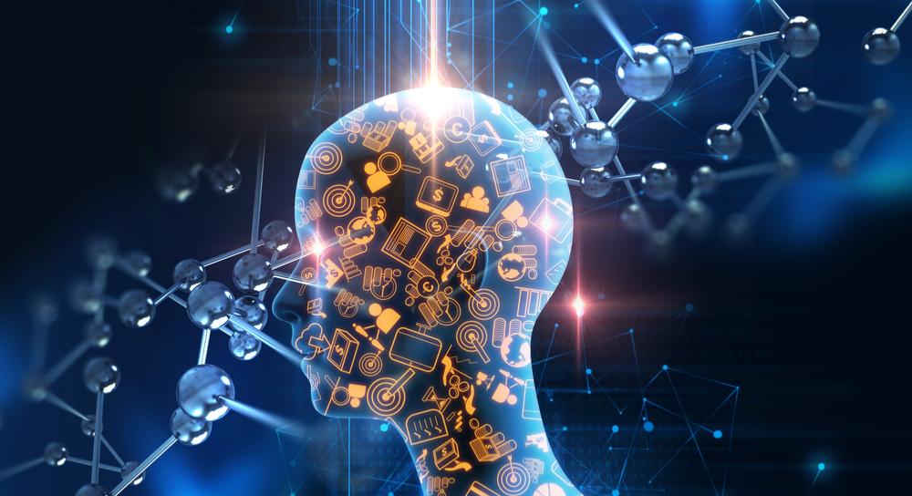 Form eines menschlichen Kopfes mit Technologie-Symbolen