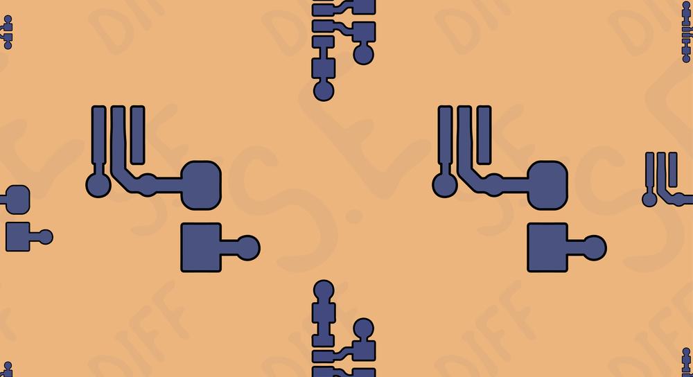 Leiterbahnen, Pads und Durchkontaktierungen auf einer PCB