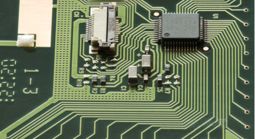 Electronic components on a circuit