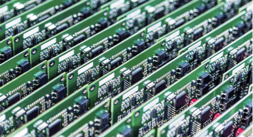 Rows of assembled PCBs