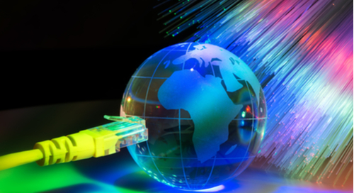 Glass earth with a fiber optic cable background