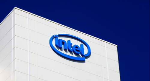 Building with Intel logo on it